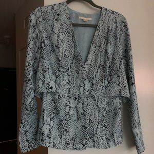Cooper and Ella Blue Snakeskin Blouse Size Small